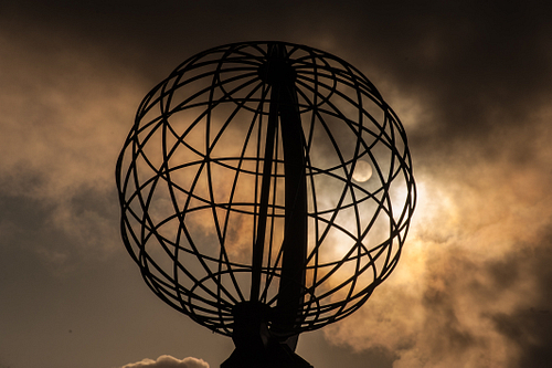 Midnight Sun Behind Globe at North cape
