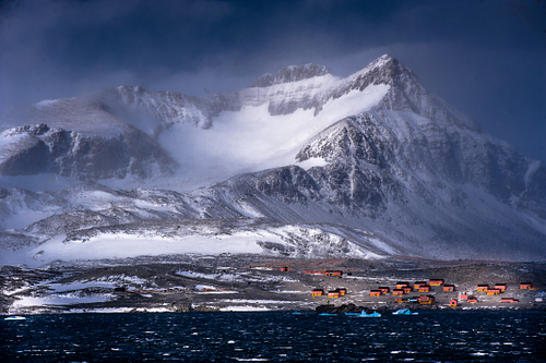 A stormy mountainous scene at the tip of the Antarctic peninsular.