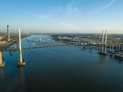 Aerial of QEII Bridge looking west