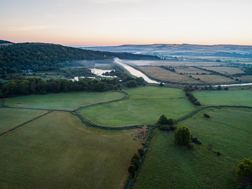 Drone image of a misty dawn English landscape