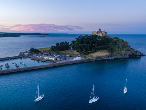 St Michaels Mount Cornwall with yachts