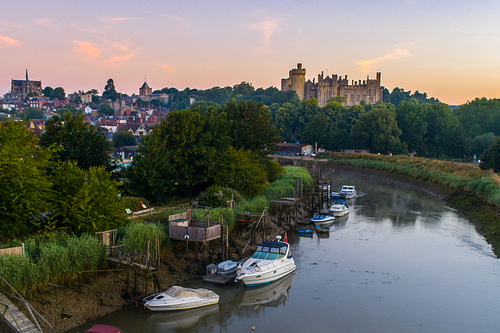 Low level drone image of River Arun and Arundel castle