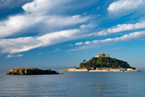 St Michaels Mount Cornwall behind during beautiful golden hour