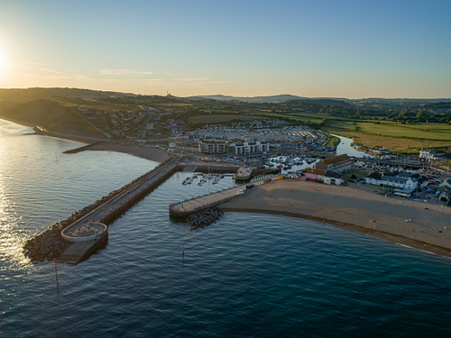 Town of West Bay from Drone at Sunset