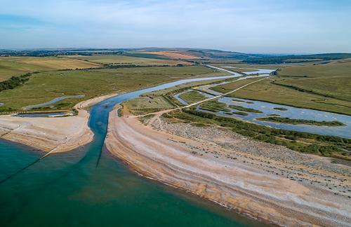 Drone photo over Cuckmere Beach