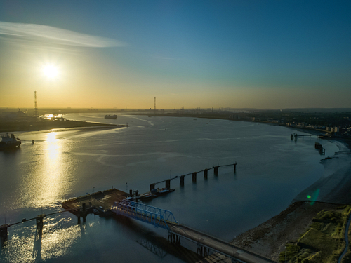 Aerial of River Thames looking east from Thurrock