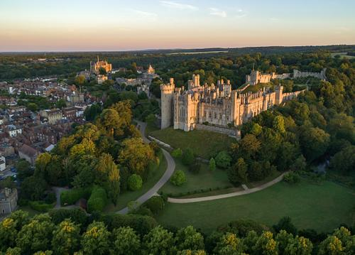 Drone image of Arundel Castle at dawn