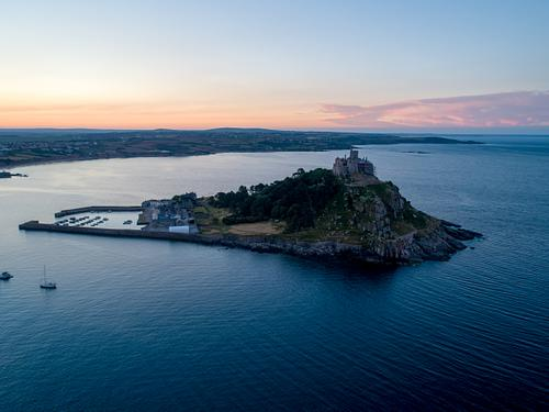 St Michaels Mount Cornwall with the sun rising