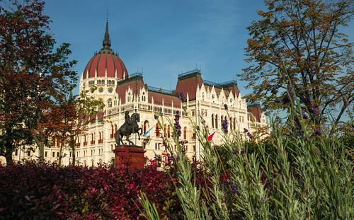 Hungarian Parliament Seen Through Gardens