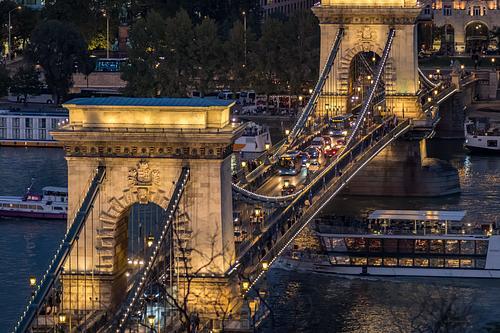 Elevated twilight shot of Chain Bridge Budapest