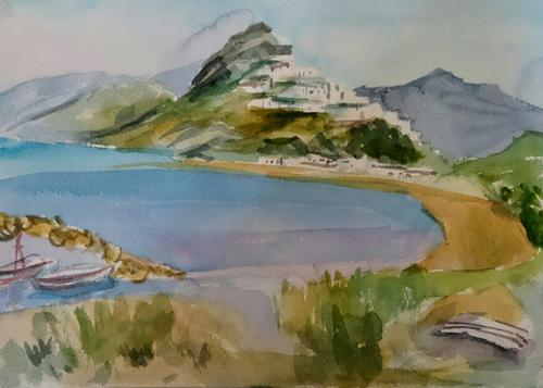 Skyros village, Molos beach and Magazia, Watercolour on paper, 2018