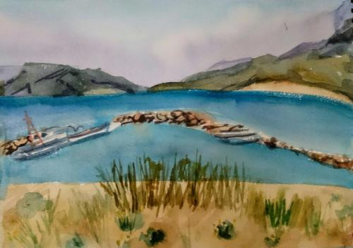 Molos beach and Magazia, Skyros, Watercolour on paper, 2018