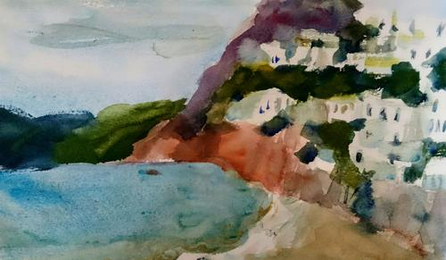 Skyros village from Magazia beach, Watercolour on paper, 2018
