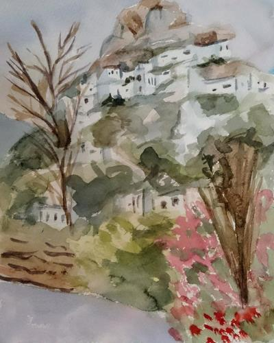Skyros village from Magazia, Watercolour on paper, 2018