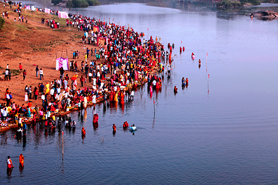 People celebrating chhath puja aerial view