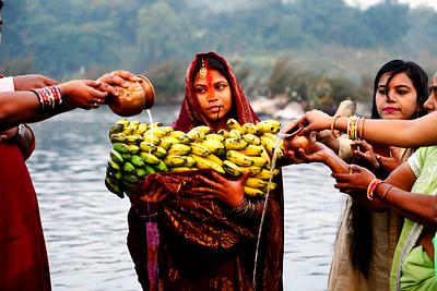 Womens celebrating chhath puja