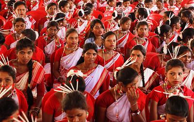 Womens celebrating sarhul