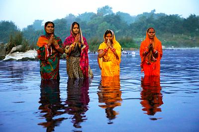 Women worshipping during chhath
