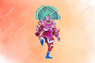 Chhau dance artist performing aggressive manbhum chhau dance