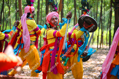 Group of artist performing Paika Dance also known as warrior dance of Jharkhand
