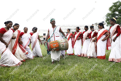 tribal dance during karma puja celebration in ranchi, jharkhand