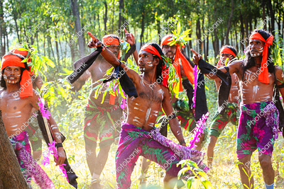 tribal dancers performing shikari dance in jharkhand