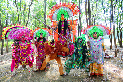 Chhau dance artists performing traditional chhau dance