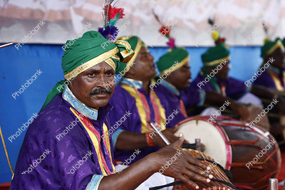 tribal drummers during karma puja celebration in ranchi, jharkhand