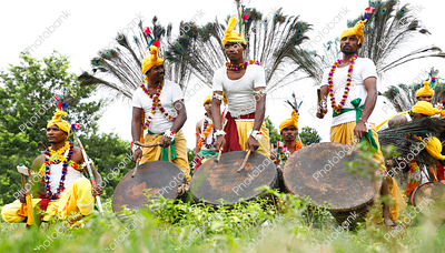 tribal boys getting ready for mundari dance during karma celebration in ranchi, jharkhand