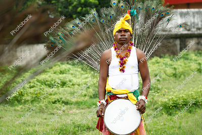 Portrait of a man performing jharkhand traditional dance