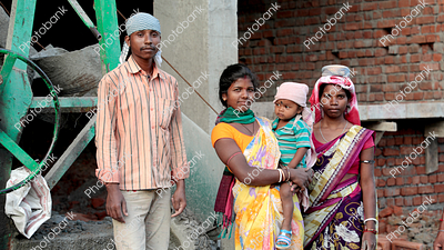 Family working at construction site