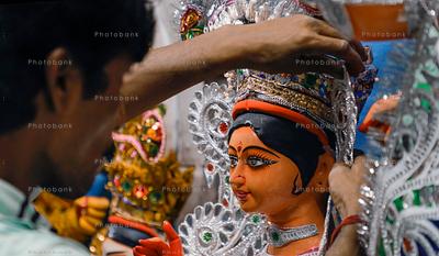 Artist prepares idols of Goddess Durga ahead of Durga Puja festival