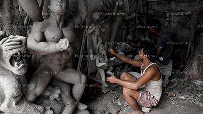Making of Hindu Goddess Durga Idol for Durga Puja Festival in Kolkata