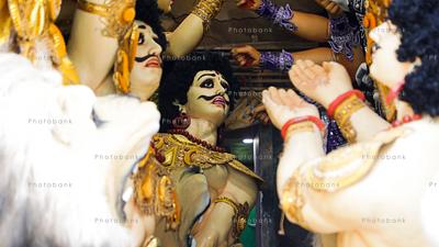 Mahishasura, Clay idols in making