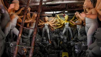 Preparations of Durga idols