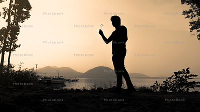 Silhouette of a stylish man