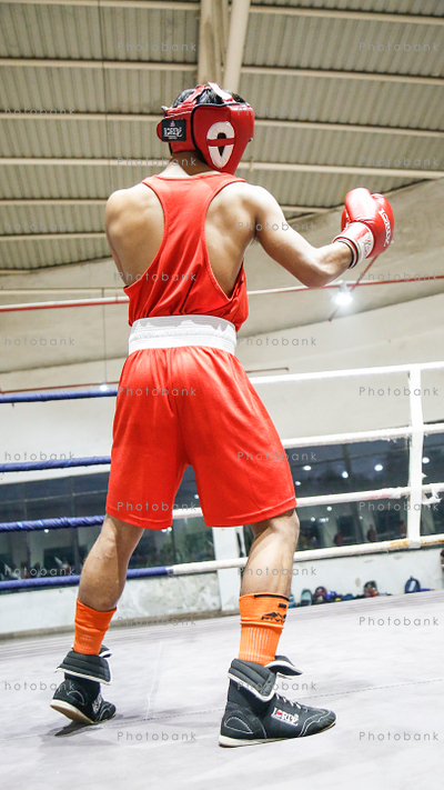 Man in punching position in a ring