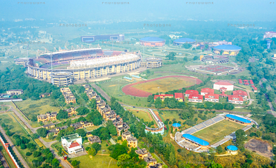 Aerial view of a stadium