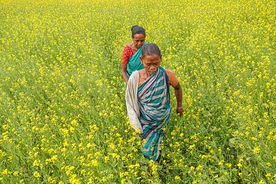 Two women walking in field