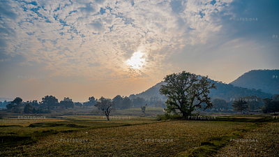 beautiful view of sunrise from jharkhand village