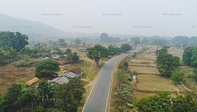 view of highway in jharkhand, india
