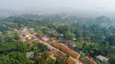 beautiful view of village in jharkhand, india