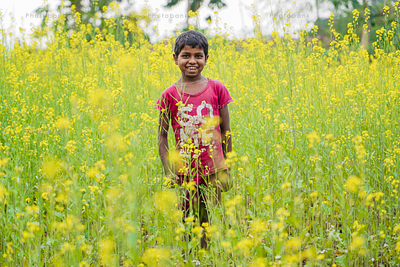 Boy standing in crop field and smiling