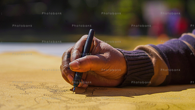 Artist painting close-up