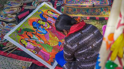 Woman artist painting