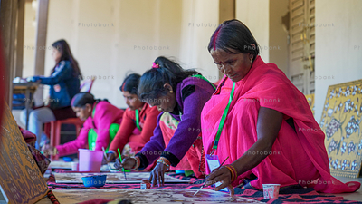 Group of women artist painting