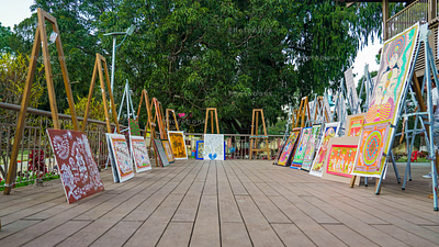 Showcase of painting around different state of India