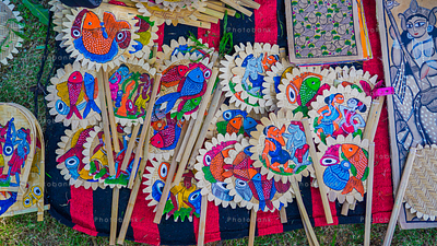 Hand fan Kolkata painting