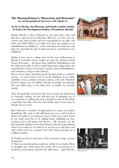 Autobiographical Interview by Dr. J. Devika, (An Historian and Gender studies scholar  at Centre for Development Studies, Trivandrum, Kerala)
