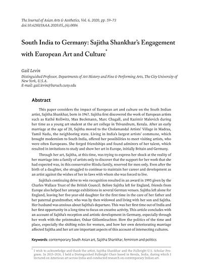 South India to Germany: Sajitha Shankhar's Engagement  with European Art and Culture